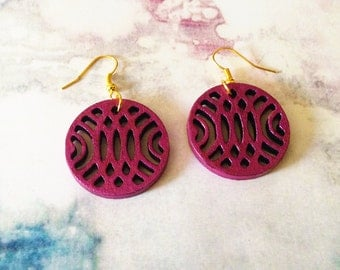Purple Plum Tribal Pattern CutOut Wood Laser Cut Earrings