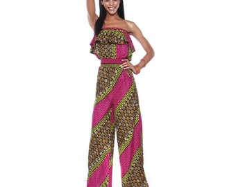 Ankara Jumpsuit- African Print Jump Suit - Pink Coconut jumpsuit in African Wax print