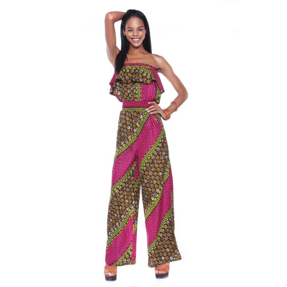 ankara jumpsuit african print jump suit pink coconut. Black Bedroom Furniture Sets. Home Design Ideas
