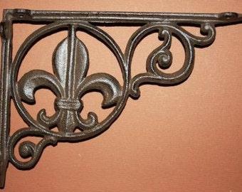 """6, Cast Iron Fleur De Lis Shelf Brackets, 6"""" x 9"""" shelf brackets, cast iron shelf brackets, Fleur De Lis Home Decor, Fonte, B-3"""