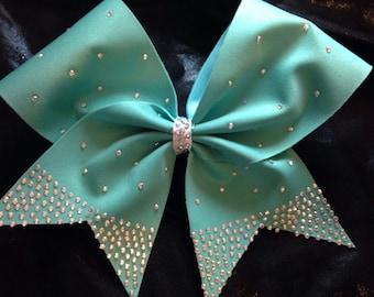 Hair bow, cheer bow, rhinestone bow, blue