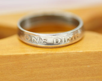 90% Silver Roosevelt Dime Coin Ring. Custom Made Coin Rings  For You. Year 1946-1964, Sizes 1.5-6