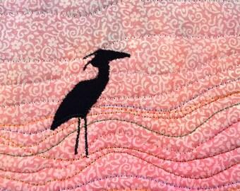 Fiber Art, Wall Hanging, Blue Heron Art Quilt, fiber art, Minature, home decor, abstract art quilt, wall art quilt, contempory art
