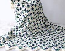 Vintage Knit Afghan/ Crochet Blanket/ Vintage Bedding/ Medium Weight Throw/ Lap Throw/ White, Green, Purple.Lap Blanket/ Large Knit Blanket