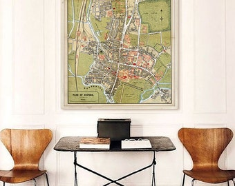 "Map of Oxford 1860 Vintage Oxford map, 4 sizes up to 30x36"" (75x90 cm) Old map of Oxford, England, UK, Archival - Limited Edition of 100"