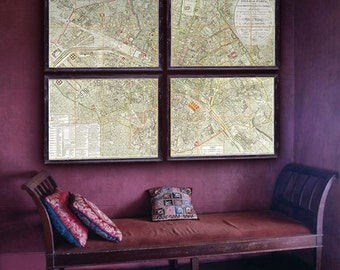 """Paris map 1814, Historical map of Paris, France, 5 different sizes up to 80x60"""" (200x150 cm) in 1 or 4 parts - Limited Edition of 100"""