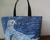 "Tote bag canvas, mosaic dove, copy from part of a wall of the ""Mausoleo di Galla Placida"" sit in Ravenna (Italy) made in France"