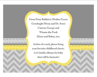 Book In Lieu Of Card-baby shower invitation insert