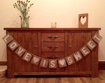 Love is Sweet Vintage Wedding Hessian/Burlap Bunting