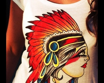 """Hand painted T-shirt  """"Vintage indian girl""""."""