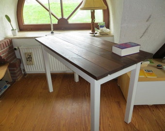Table side table - old wood with white base, work table, kitchen table, dining table, in any size