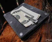 O'Dell Studios Handmade Micarta Card Wallet in Gray Canvas with Green on Green Spacers