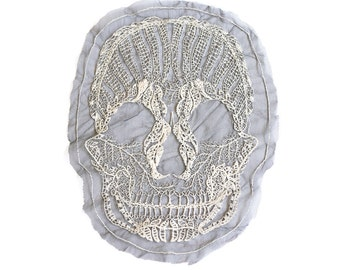 Lace Skull Applique Embroidered Ecru and Black
