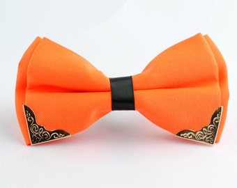 Silk Bow Tie.Mens Bow Tie.Wedding Bow Tie.Orange Bow Tie  With Phnom Penh for Wedding
