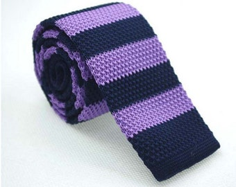 Lavender and Navy Contrast Knit Neckites. Mens Knit Ties.Knitted Wedding Ties/Neckties.Modern Ties