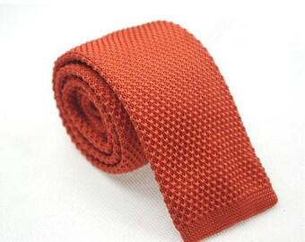 Orange Knit Tie.Solid Orange Slim Tie.Orange Wedding Tie