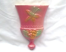 Hull Wall Pocket Planter 1952 Sunglow Sun Glow Whisk Broom Pink Green Butterfly