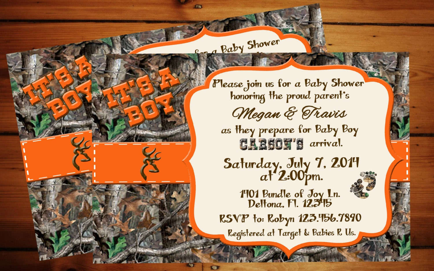 it 39 s a boy camo baby shower invitation orange camo real