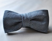 Handmade Men's Cotton Navy and White Hounstooth Adjustable Bow Tie