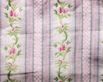 Embroidered Striped Rose Fabric