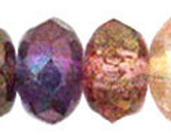 Czech Glass 5x7mm Fire Polish Rondelles - 25 Multi Beads