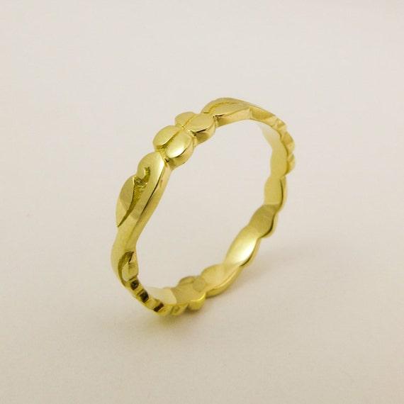 14 Karat Bands: 14 Karat Solid Gold Wedding Ring Thin Gold Flower Band