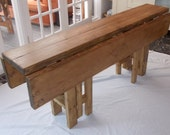 Large Handmade Rustic Drop Leaf Kitchen Dining Table  4 gate legs 015