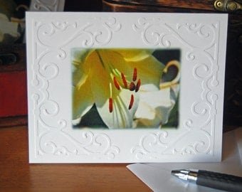 Lily Card. Blank Ivory Lily Embossed Cards and Envelopes