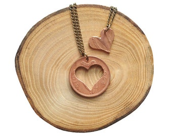 "Handcut Irish coin ""Love"" necklace"