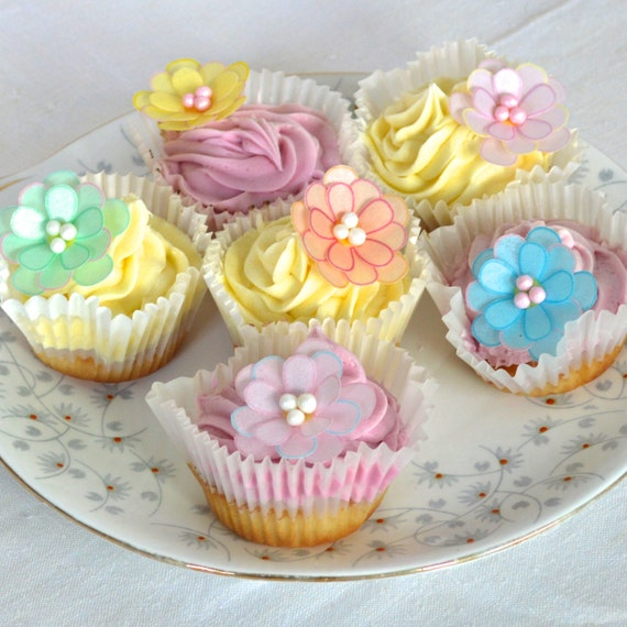 Edible 3D Flowersx100 Soft Bright Pastel by WicksteadsEatMe