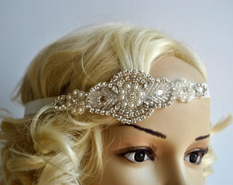 Pearls Crystal Wedding Headband Headpiece, Fascinator, Wedding Hair Accessory, Ribbon Bridal Headband, prom, bridesmaid gift