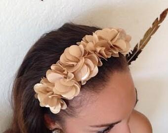 Beige Floral Headband
