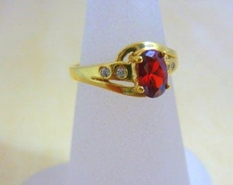 Garnet Ring 14K gold filled ring  ,thin gold ring, delicate ring, gift for her red gemstone multsistone ring