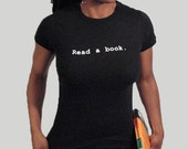 Read a Book shirt for women, Round neck, Short sleeves, Cotton shirt, Womenz shirt, Black shirt