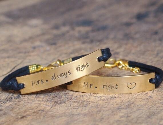 Gold Couples Bracelet matching bracelet by Stampedbracelet ...