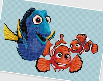 PDF Cross Stitch pattern - Finding Nemo - INSTANT DOWNLOAD