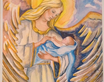 """Print of Original Watercolor """"Guardian Angel of the Infant Male"""""""