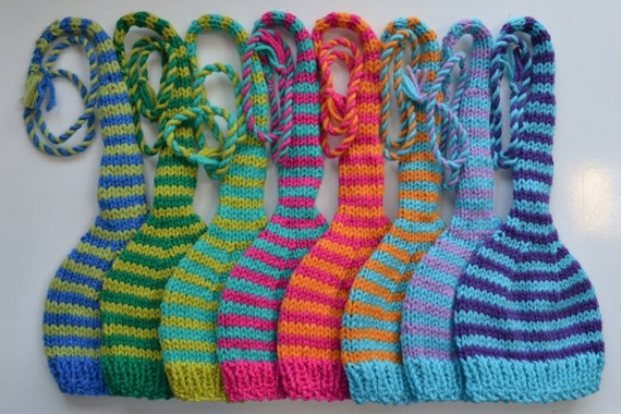 Knitting Pattern For Hat With Long Tail : Baby Hat KNiTTiNG PATTERN TUTORiAL Long Tail Stocking Hat PaTTeRN Stripe MuNC...
