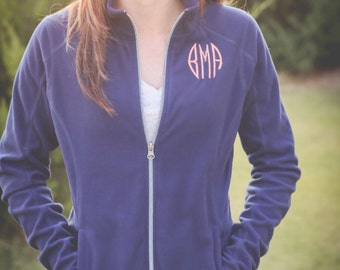 Monogram Microfleece Jacket | Full Zip Microfleece | Monogram Jacket | Monogram Fleece | Lightweight Jacket | Gift for Her | Gifts under 50