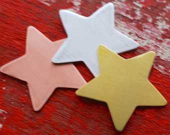 Stamping Blanks Large Star - Quantity 3 and metal  debured