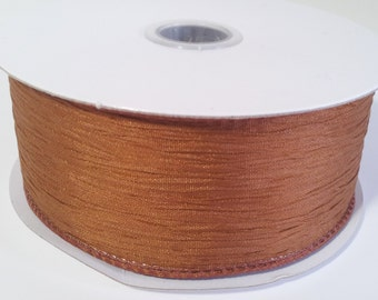 """1 1/2"""" Wired Polyester Crinkled Woven Ribbon - Copper - 10 Yards"""