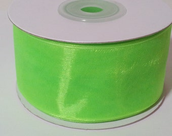 Sheer Organza Ribbon - Apple Green - 25 Yards
