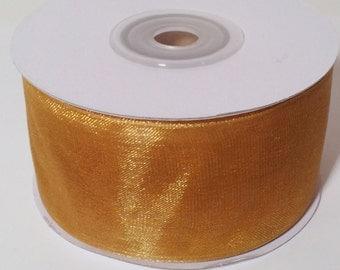Sheer Organza Ribbon - Gold - 25 Yards