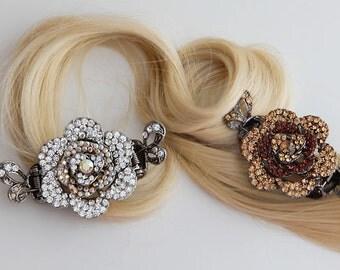 Flower Crystal Hair Clips