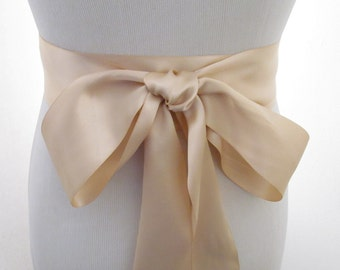 Sand Ribbon Sash / Double Faced Ribbon Sash / Bridal Sash / Bridal Ribbon /  Sand