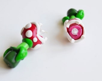 Piranha plant earrings, Nintendo earrings, polymer clay earrings, funny earrings