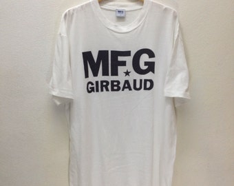 Rare Authentic Marithe Francois Girbaud MFG Logo White T-Shirt Sz L Made in USA