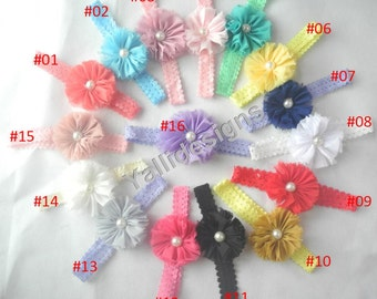 U Pick Wholesales Shabby Flower Headband Baby Headbands. Pearl Headband Vintage Newborns Headbands. Girl's Headband YTC01