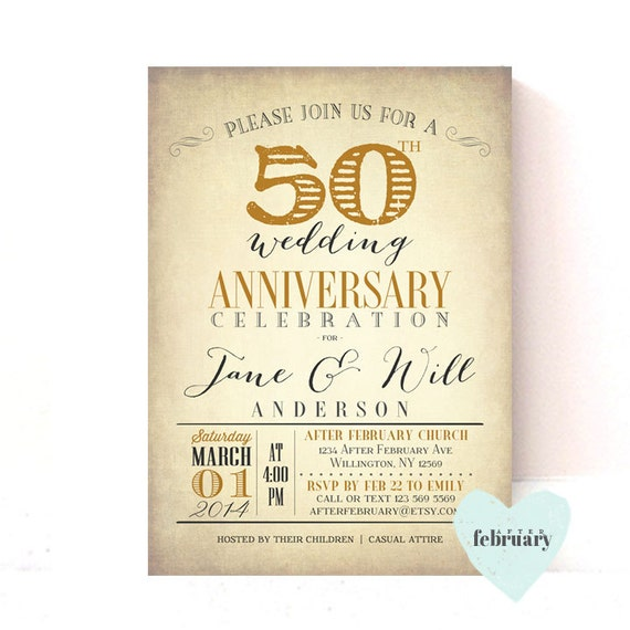 50th anniversary invitation golden wedding vintage gold background