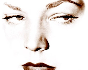 "Visage Collection - Lauren Bacall - Sophisticated - 24"" x 24"" Canvas Art Poster"